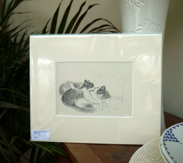 2 Cats asleep on a chair - Cat D12 - 1940's print by Lucy Dawson